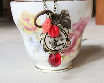 Anne of Green Gables Charm Necklace - Shirley Red Beaded Skeleton Key Vintage - Flower Jewelry For Women Jewellery Botanical Gift Bookish