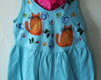 Hand Painted Baby Girl Bubble Romper, Kitty Cat, Cuddly, Soft Natural Cotton, Hippie Baby,Boho Baby, Flower Girl, Cat, Puppy Lightweight,