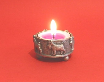 Miniature Schnauzer Pewter Tea Light Holder Mother Father Miniature Schnauzer Gift