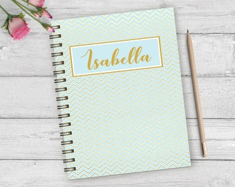 Chevron personalized hardback spiral journal, personalized note book, custom monogram notebook, girls custom journal, blank journal NBW03