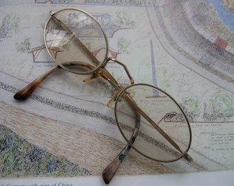 Vintage Oval Gold Rimmed Metal Eye Glasses with Tortoiseshell
