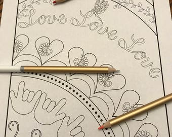 Coloring page Love ASL pattern doodle printable with hearts, a dragonfly, and i love you in sign language