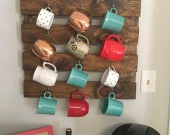 Coffee mug holder, rustic coffee mug holder, coffee mug holder for wall, home decor, wall rack, food storage, mug storage