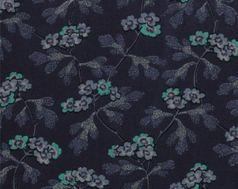 A Barbara Brackman reproduction fabric in shades of blue and teal.