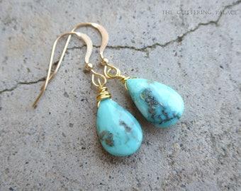 Genuine Turquoise Earrings, Sleeping Beauty Turquoise Earrings, December Birthstone Jewelry, Turquoise Drop Earrings, 14k Gold Fill Sterling