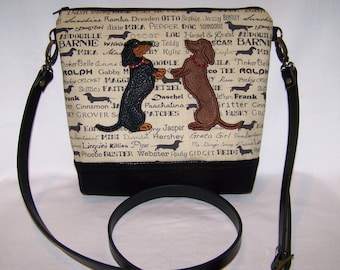 New Applique Smooth Hair Sitting Up Dachshunds - Cross Body - Handbag-Purse - Made to Order