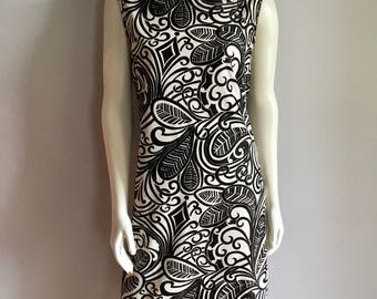 Vintage Women's 60's Mod, Black, White, Dress, Psychedelic, Sleeveless (L)