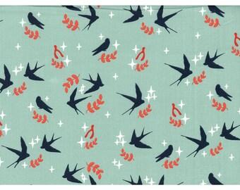 Knit Birch Swallows Mineral Tall Tales Cotton Interlock