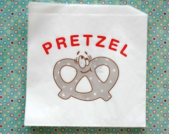 Vintage Style Happy Pretzel Bags - White with Brown and Red Print - Flat Bags 6 3/4 x 7 Inches - set of 25