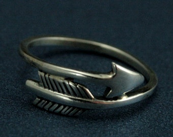 Artemis Ring - Sterling Silver Arrow Band - Arrow Ring - Hunger Games Inspired Ring - Mockingjay Jewelry - Artemis Collection