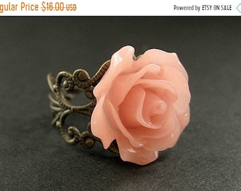 MOTHERS DAY SALE Coral Peach Rose Ring. Peach Flower Ring. Filigree Ring. Adjustable Ring. Flower Jewelry. Handmade Jewelry.