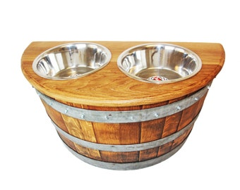 Wine Barrel Elevated Dog Feeder/ Dog feeder/ Pet feeder/ Dog dish/ Food bowl/ Pet bowl/Barrel Art