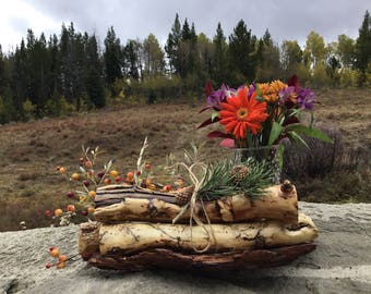 Rustic wood centerpiece
