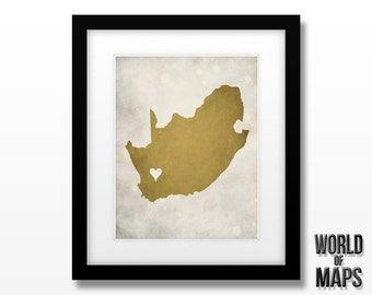 South Africa Map Print - Home Town Love - Personalized Art Print