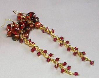 RubyGlow crystal and pearl earrings