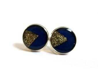 TRIANGLE EARRINGS STUDS - geometric jewelry - dark blue post earrings - geometric stud earrings -  golden glitter studs - minimalist studs
