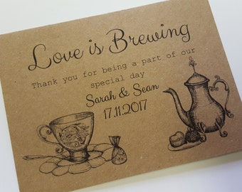 10 Love is Brewing, personalised envelops for tea bags Wedding favour, bridal shower, baby shower.