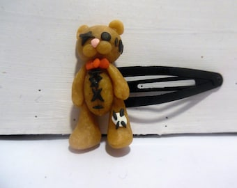 Patched with polymer clay bear hair clip