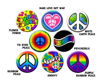 "Choose 8 GROOVY BUTTONS-Colorful Hippie Peace and Love Pins Your Choice of (8) 1.25"" Quality Pin-Back Buttons or Badges"