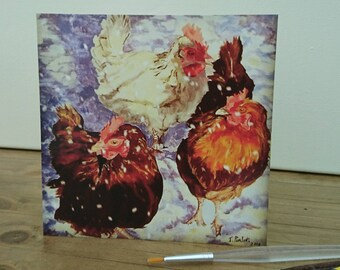 Blank Christmas/greeting card 'Hens in the Snow,' free P&P