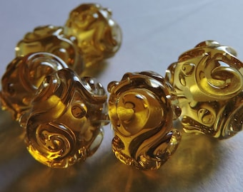 Glass Handmade Amber Lampwork Beads Ericabeads: Pale Amber Scrolled Sparklies (6)