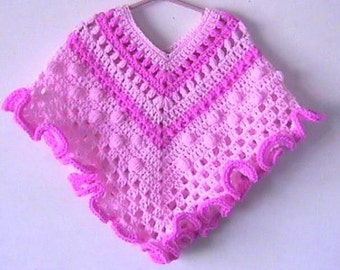 Girls Poncho CROCHET PATTERN Pink Ruffle Popcorn Texture Worsted