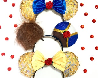 Disney inspired Beauty and the beast his and hers Minnie Mickey Mouse ears set