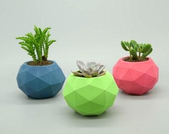 Concrete Planters, set of 3 geometric Flower/Plant Pots, Home Decor, Cement planter