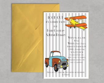 Trucks and Planes Diaper Party Invitation