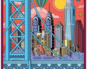 Philadelphia poster, Philadelphia wall art, Philadelphia art print, Philadelphia skyline, Philadelphia art, Wall decor, Philadelphia print