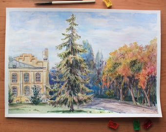 Landscape painting Original watercolor artwork Old house art Impressionism Colorful painting Autumn landscape Plein air painting Wall art
