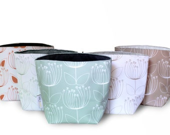 Reversible Fabric Storage Bucket -  Protea Print