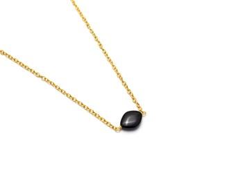 Black Onyx Pendant/ Onyx Gold Pendant/ Gold Onyx Pendant/ Black Onyx Necklace/ Black Onyx Jewelry
