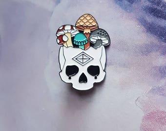 Mushroom Skull - Soft Enamel Pin