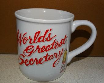 World's Greatest Secretary Coffee Mug, Secretary, Administrator,  Award Glass Mug. Mug, Coffee Mug. Hot Cocoa Mug
