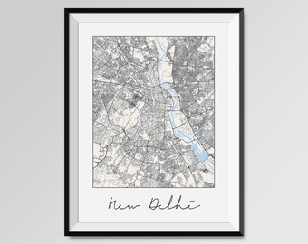 NEW DELHI Map Print, Modern City Poster, Black and White Minimal Wall Art for the Home Decor