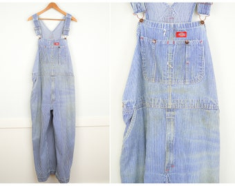 Distressed Vintage Engineer Overalls XL, Vintage Clothing, Engineer Stripe Plus Size Overalls, Utility Carpenter Overalls, Baggy Oversized