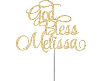 Baptism cake topper, god bless cake topper, cross cake topper, baptism boy girl cake topper, religious decorations, First Holy Communion
