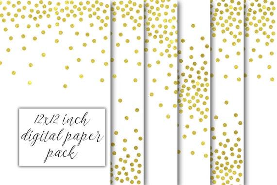 círculos de puntos de 12 x 12 pulgadas oro confeti papel digital ...