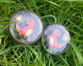 Charmander fire plugs, handdrawn pokemon plugs in 10mm and up