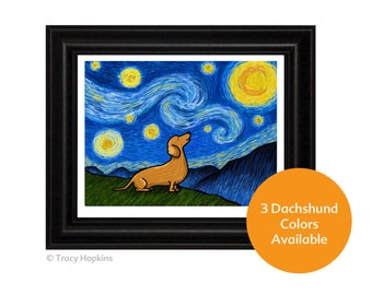 """Dachshund  """"Starry Baroo"""" Art Print (UNframed) - 3 Dachshund colors to choose from - Wiener Dog - Doxie"""