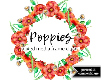 Mixed media Poppies frame Clip art | Hand pianted clip art | Poppies frame PNG | Flower frame clip art | Commercial use