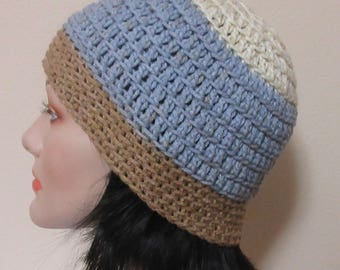 Crochet Beanie, Cream, Slate Blue and Gold Beanie, Gender Neutral Hat, Cold Weather Accessory, Snow Hat, Hockey Mom, Hockey Dad, Ice Skating