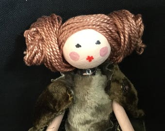 Ooak red haired art doll