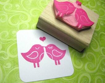 Bird Stamp - Love Birds with Heart Stamper - Wedding Gift - DIY Wedding - Wedding Invites - Handmade Wedding  - Valentines Card