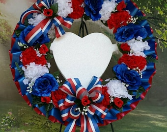 Cemetery Wreath, Red, White and Blue, Gravesite, Memorial Day, Funeral, Funeral Wreath, Cemetery Flowers, 4th of July, Fourth, Americana