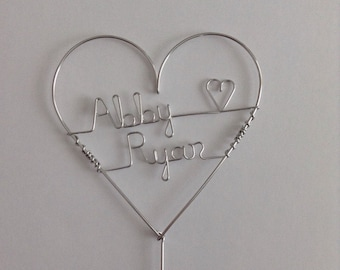 Heart Cake Wedding Cake Topper, Small size, Personalized