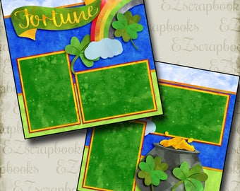 FORTUNE - St. PATRICK'S Day - 2 Premade Scrapbook Pages - EZ Layout 2777
