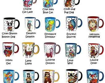 Colorful mug, funny mug, animal lover mug, sublimation on mug, original mug, colorful animal