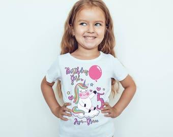 Unicorn Birthday  girls Kids personalised T-Shirt, Childrens Toddlers T Shirt Top.